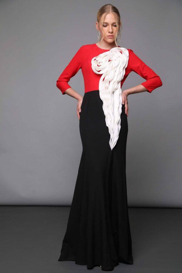 שמלות צנועות לאירועים וינה אדום